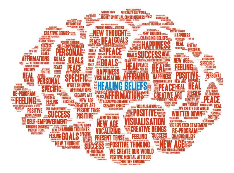 Θεραπεύοντας σύννεφο του Word εγκεφάλου πεποιθήσεων ελεύθερη απεικόνιση δικαιώματος