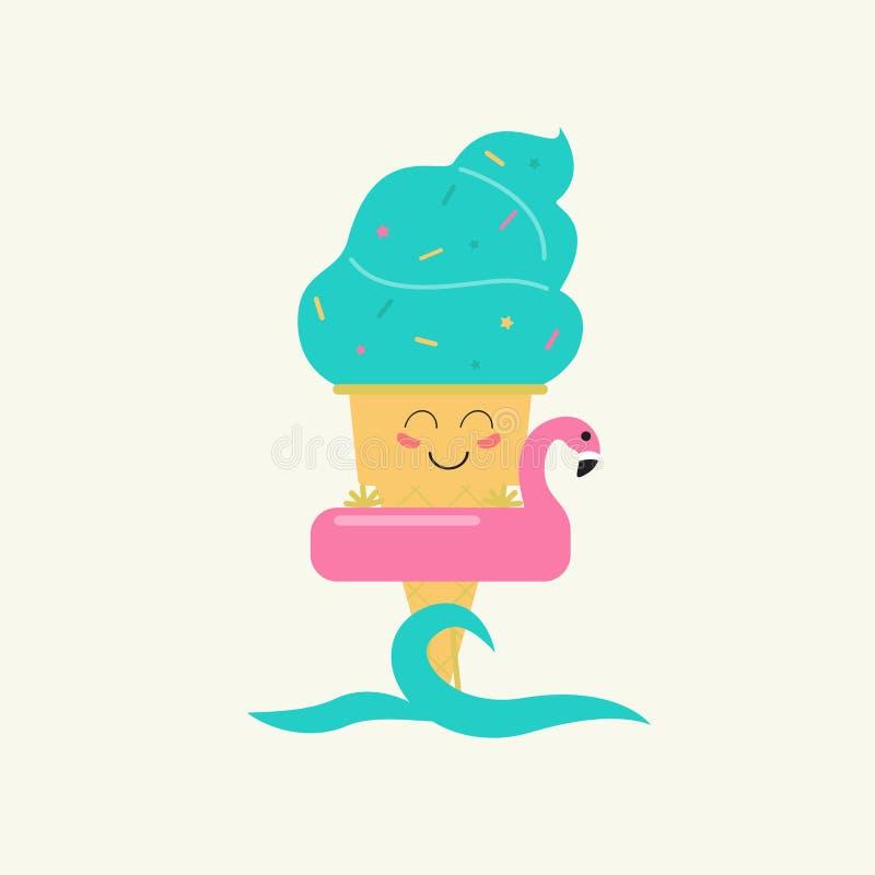 Θερινά γλυκά Εικονίδιο σχεδίου παγωτού χρώματος διανυσματική απεικόνιση