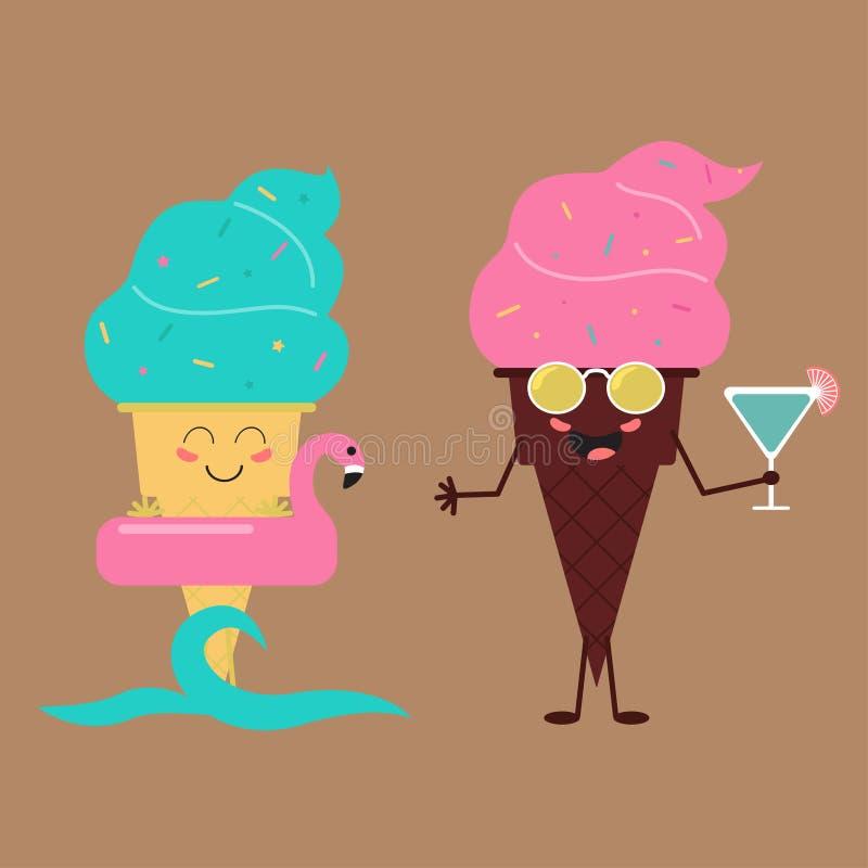 Θερινά γλυκά Εικονίδιο σχεδίου παγωτού χρώματος απεικόνιση αποθεμάτων