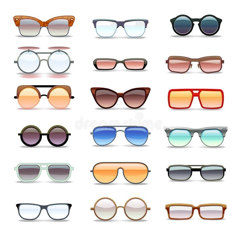 Θερινά γυαλιά ηλίου, eyeglasses μόδας επίπεδα διανυσματικά εικονίδια διανυσματική απεικόνιση