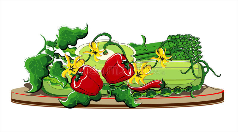 θερινά λαχανικά πιάτων ελεύθερη απεικόνιση δικαιώματος