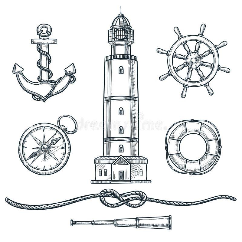 Θερινά ναυτικά εκλεκτής ποιότητας εικονίδια καθορισμένα Διανυσματική συρμένη χέρι απεικόνιση σκίτσων Θάλασσα και απομονωμένα ναυτ διανυσματική απεικόνιση