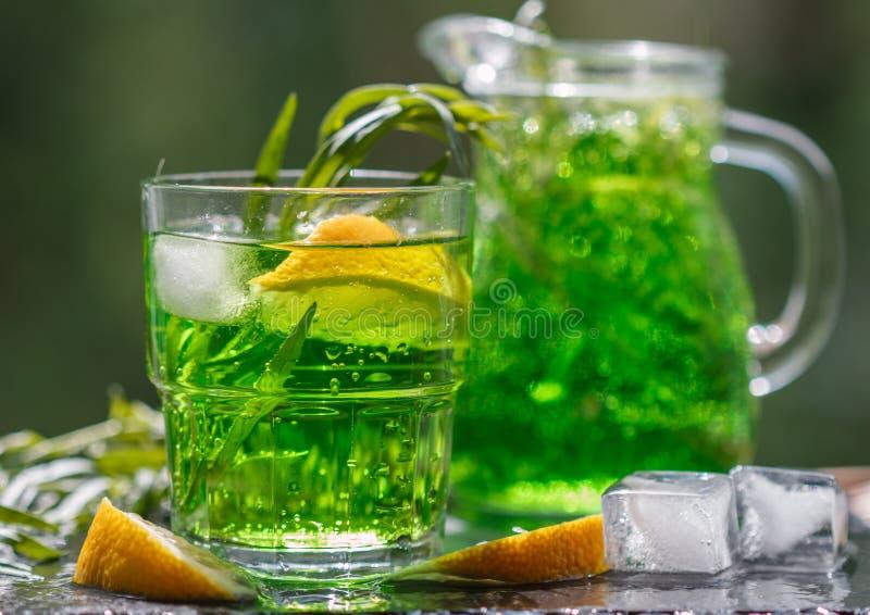 Θερινά ποτά Αναζωογονώντας λεμονάδα από τα λεμόνια, τη μέντα και το τραχούρι στοκ εικόνα
