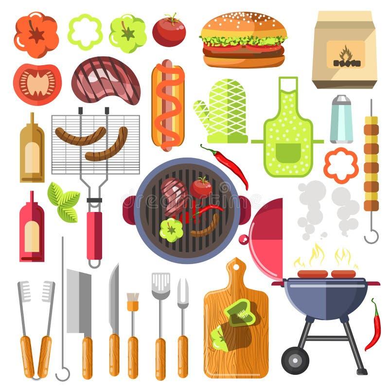 Θερινά τρόφιμα σχαρών στοιχείων σχεδίου σχαρών διανυσματική απεικόνιση