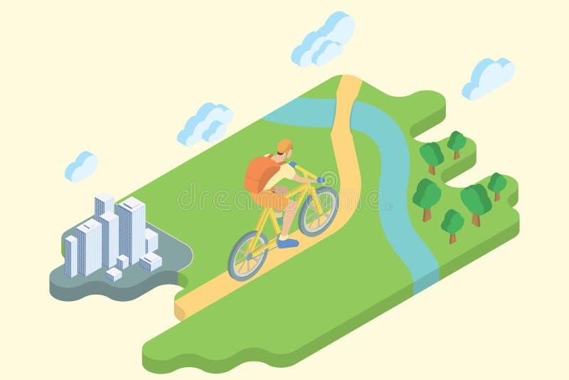 Θερινές διακοπές διαδρομής ποδηλάτων Επίπεδη Isometric τέχνη διανυσματική απεικόνιση