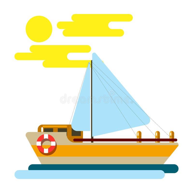 Θερινές διακοπές και διανυσματική περιπέτεια ταξιδιού κρουαζιέρας θάλασσας ελεύθερη απεικόνιση δικαιώματος