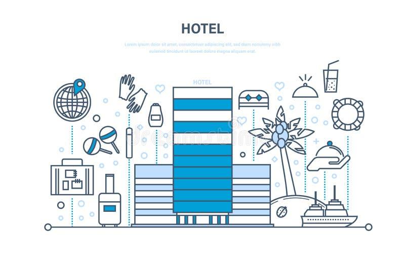 Θερινές διακοπές, ταξίδι Ξενοδοχείο, επιφύλαξη δωματίων, εξωτερικό, εσωτερικό της οικοδόμησης απεικόνιση αποθεμάτων