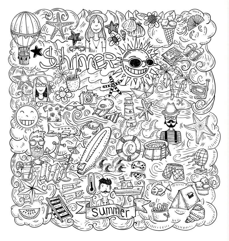 Θερινές διακοπές Doodle, διανυσματική απεικόνιση ελεύθερη απεικόνιση δικαιώματος