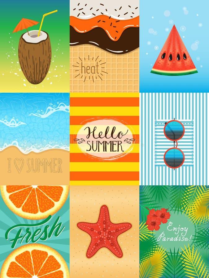 Θερινές κάρτες καθορισμένες ελεύθερη απεικόνιση δικαιώματος