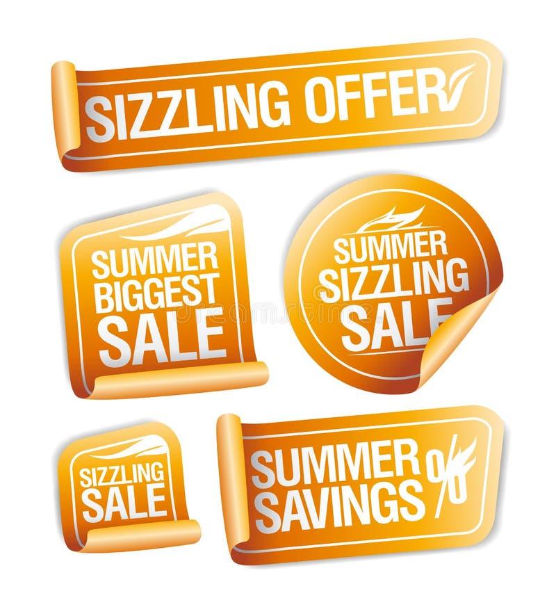 Θερινές sizzling προσφορές, αποταμίευση και αυτοκόλλητες ετικέττες πώλησης διανυσματική απεικόνιση