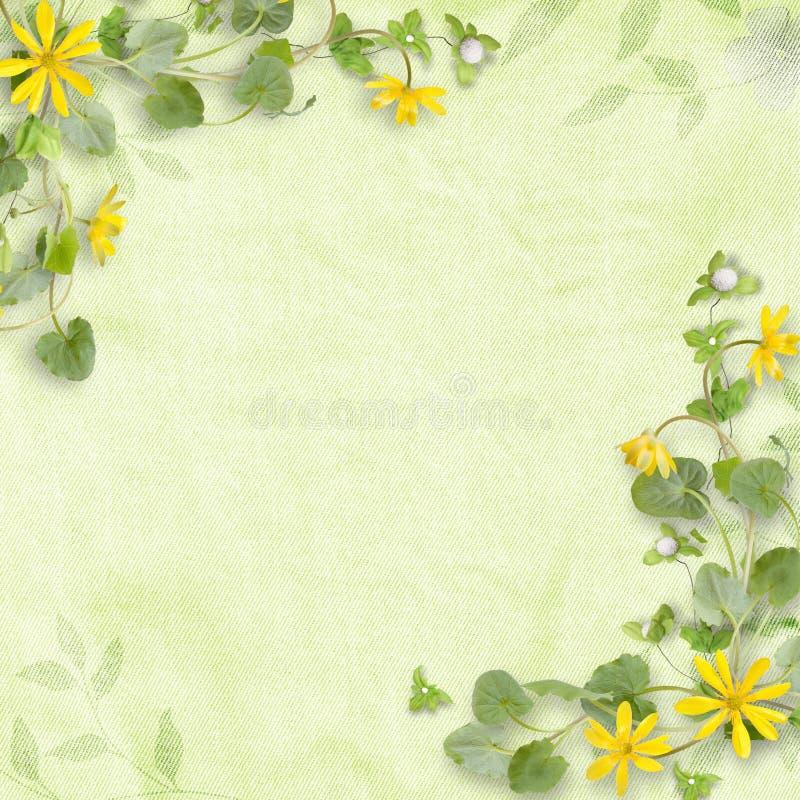 Θερινή ανασκόπηση με τα κίτρινα λουλούδια διανυσματική απεικόνιση