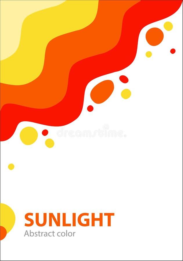 Θερινή αφηρημένη κάλυψη με το φωτεινούς ζωηρόχρωμους ήλιο και τους παφλασμούς του φωτός ελεύθερη απεικόνιση δικαιώματος