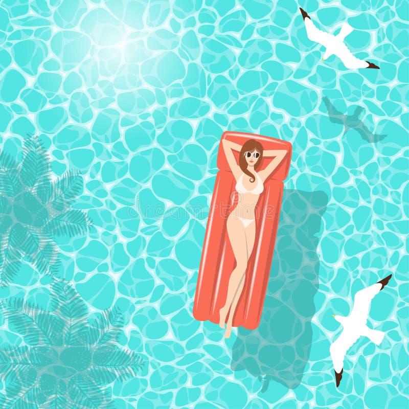 Θερινή γυναίκα στο στρώμα αέρα στη θάλασσα διανυσματική απεικόνιση