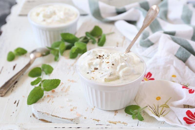Θερινή ελαφριά σαλάτα: Ελληνικά γιαούρτι, σκόρδο, μέντα και αγγούρι στοκ φωτογραφία με δικαίωμα ελεύθερης χρήσης