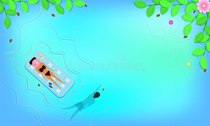Θερινή εποχή η τοπ άποψη γύρω με το φύλλο ανθίζει τον ύπνο παραλιών και γυναικών στο επιπλέον κάθισμα κοντά στο λοσιόν sunglass ά διανυσματική απεικόνιση