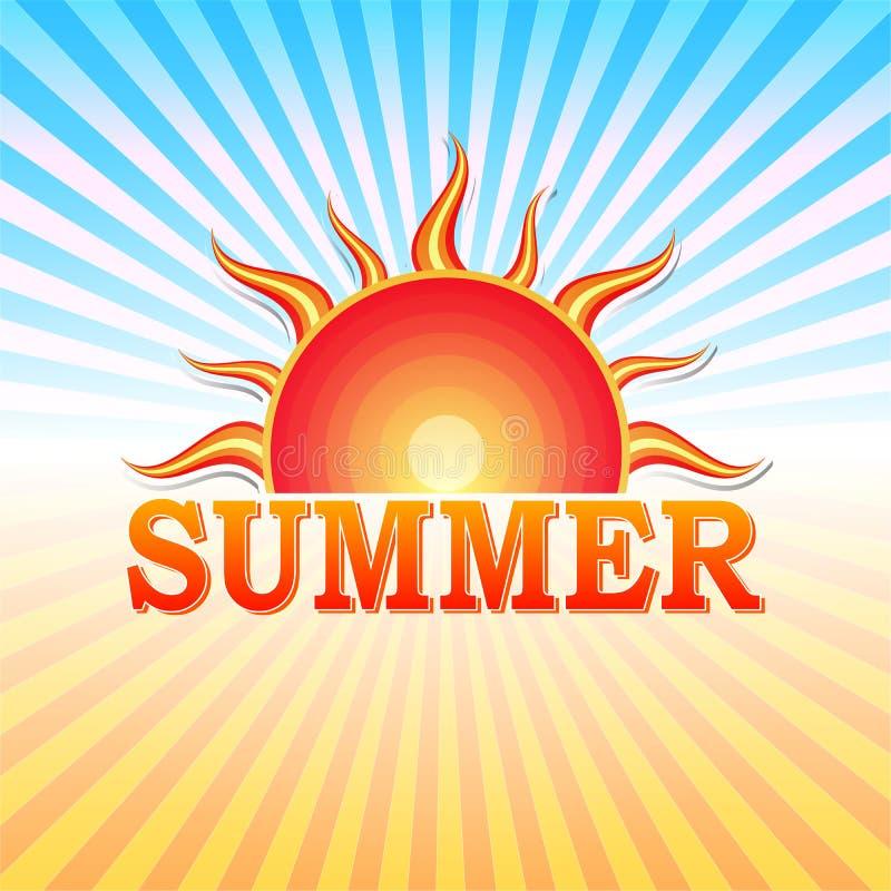 Θερινή ετικέτα με τον ήλιο και τις ακτίνες απεικόνιση αποθεμάτων