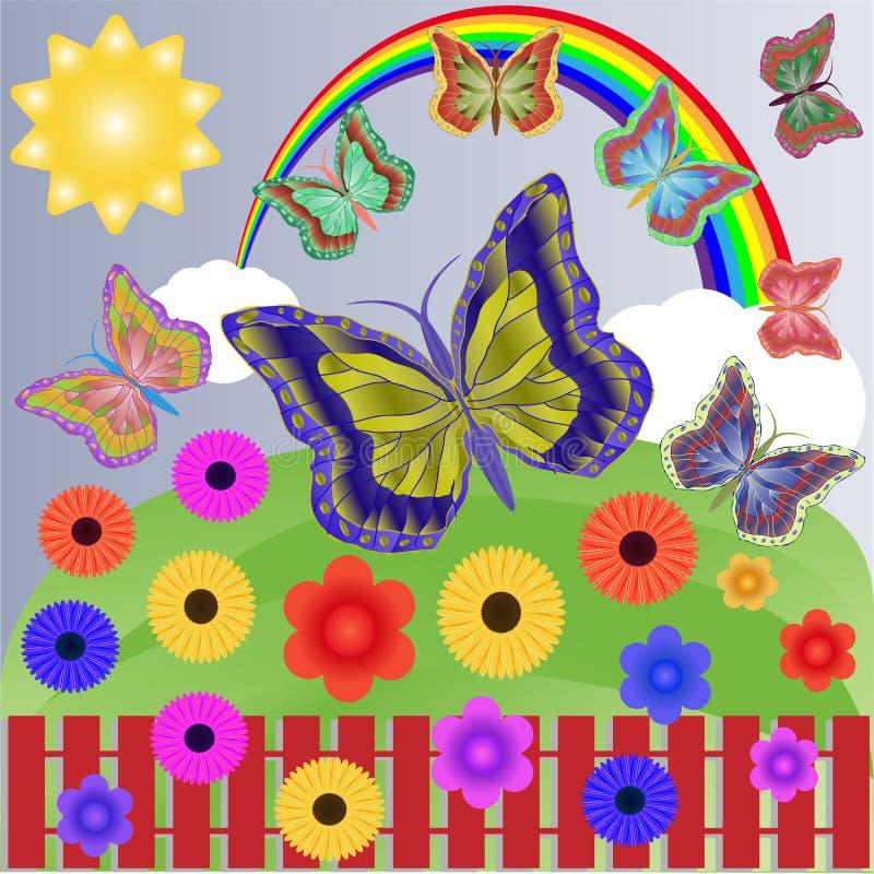 Θερινή ηλιόλουστη ημέρα με ένα φωτεινό πολύχρωμο ουράνιο τόξο, εύκολα άσπρα σύννεφα, όμορφα λουλούδια και ξένοιαστες flitting πετ διανυσματική απεικόνιση