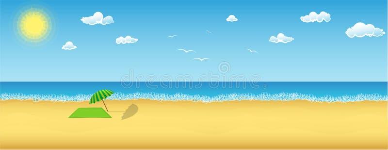 Θερινή ημέρα σε μια παραλία διανυσματική απεικόνιση