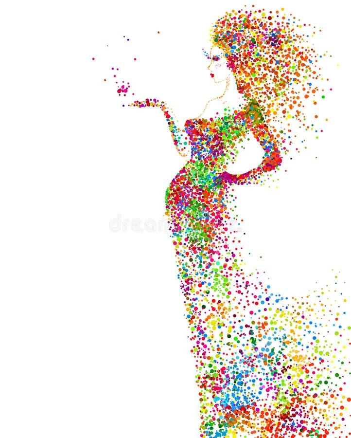 Θερινή διακοσμητική σύνθεση με το κορίτσι Χρωματισμένος διαμορφωμένος μόρια αφηρημένος αριθμός γυναικών απεικόνιση αποθεμάτων
