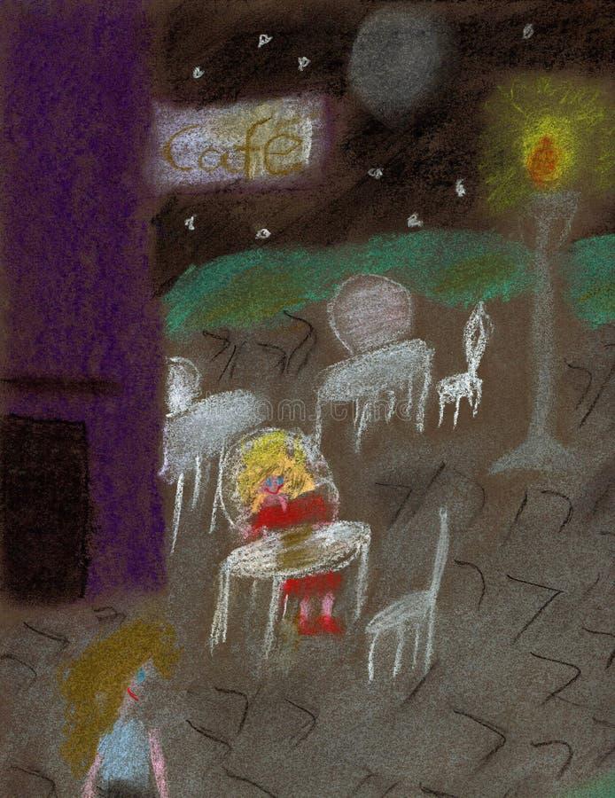 Θερινή νύχτα σε έναν φραγμό καφέ - μαλακή ζωγραφική κρητιδογραφιών διανυσματική απεικόνιση