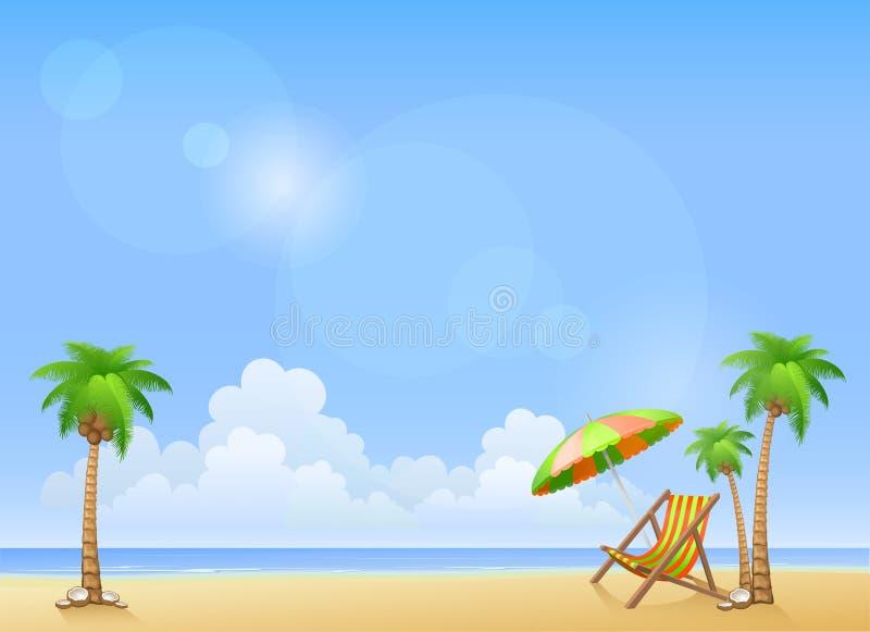 Θερινή παραλία με τους φοίνικες και το σαλόνι μονίππων ελεύθερη απεικόνιση δικαιώματος