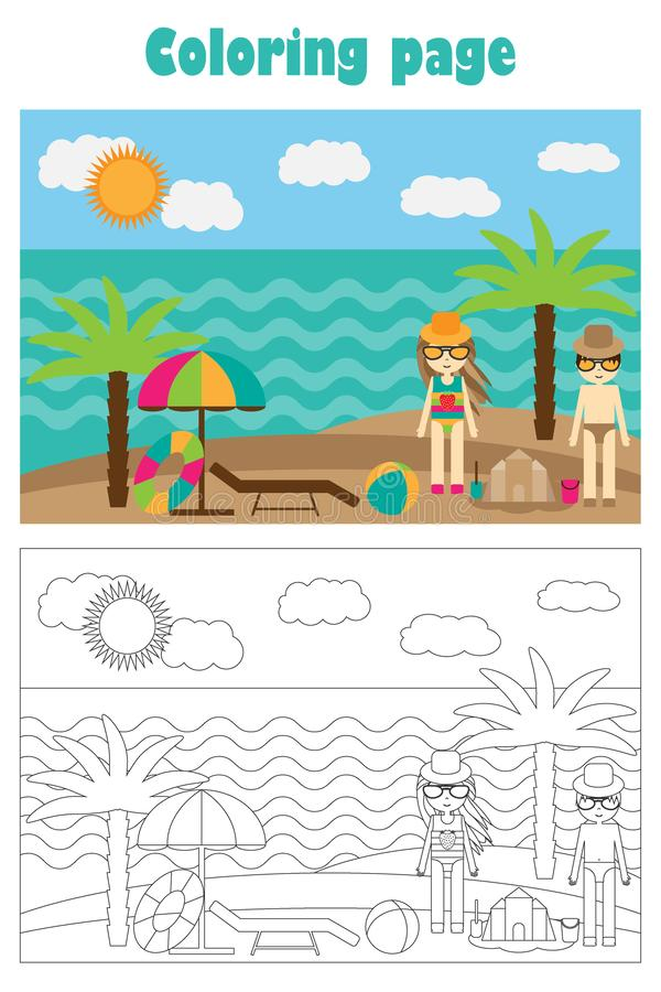 Θερινή παραλία στο ύφος κινούμενων σχεδίων, θερινή χρωματίζοντας σελίδα, παιχνίδι εγγράφου εκπαίδευσης για την ανάπτυξη των παιδι διανυσματική απεικόνιση