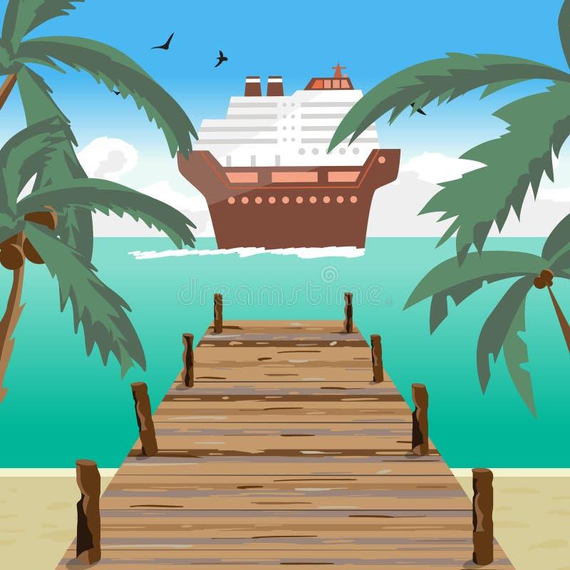 Θερινή παραλία τοπίων θάλασσας, παλαιά ξύλινη αποβάθρα, κρουαζιερόπλοιο διανυσματική απεικόνιση
