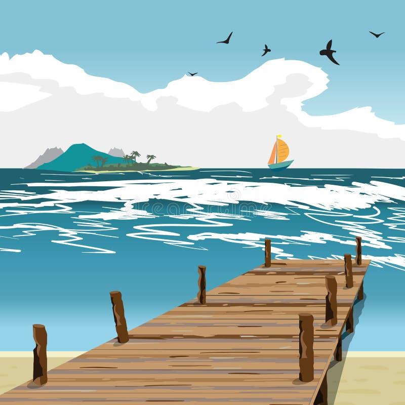 Θερινή παραλία τοπίων θάλασσας, παλαιά ξύλινη αποβάθρα, νησί και γιοτ διανυσματική απεικόνιση