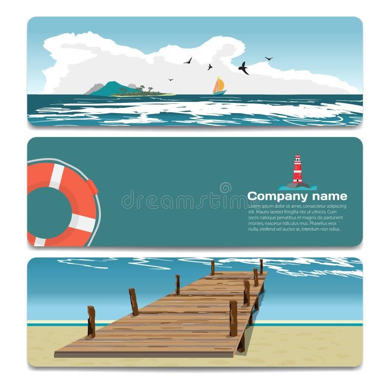 Θερινή παραλία τοπίων θάλασσας, παλαιά ξύλινη αποβάθρα, νησί, φάρος διανυσματική απεικόνιση