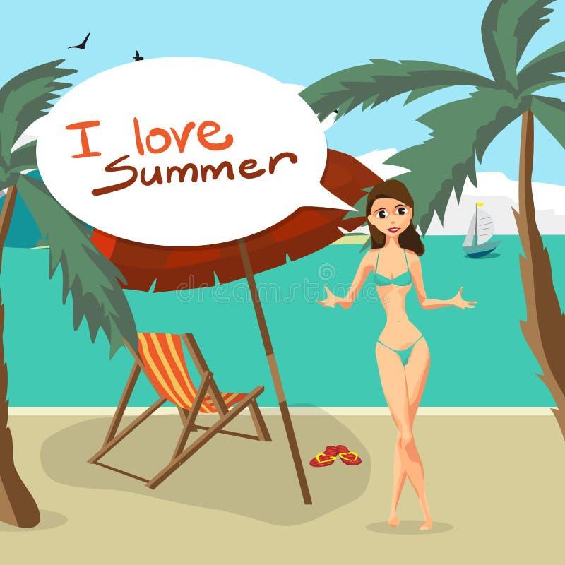 Θερινή παραλία τοπίων θάλασσας, φοίνικας, ομπρέλες θαλάσσης, κρεβάτια παραλιών απεικόνιση αποθεμάτων