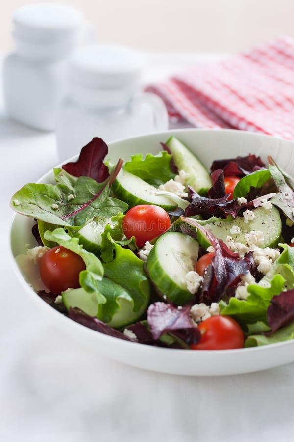 Θερινή περίοδο σαλάτα με τα φύλλα σαλάτας, τις ντομάτες, τα αγγούρια, τα ιταλικά χορτάρια και το τυρί στοκ εικόνες