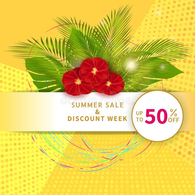 Θερινή πώληση, έμβλημα έκπτωσης με 50% από το κείμενο Αφίσα με τα φύλλα φοινικών και τα κόκκινα λουλούδια στο αφηρημένο κίτρινο υ απεικόνιση αποθεμάτων