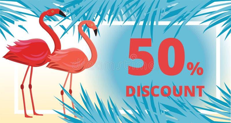 Θερινή πώληση, έμβλημα έκπτωσης με το φλαμίγκο, τροπικά φύλλα και υπόβαθρο θάλασσας ελεύθερη απεικόνιση δικαιώματος