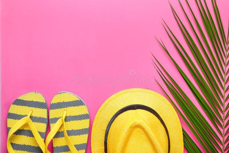 Θερινή σύνθεση με τα φρέσκα τροπικά εξαρτήματα φύλλων και παραλιών φοινικών στο υπόβαθρο χρώματος στοκ φωτογραφία με δικαίωμα ελεύθερης χρήσης