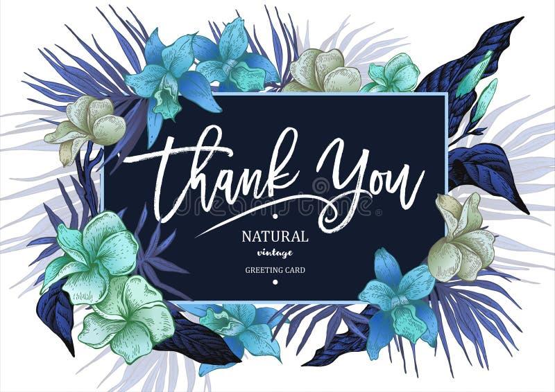 Θερινή τροπική εκλεκτής ποιότητας Floral ευχετήρια κάρτα ελεύθερη απεικόνιση δικαιώματος