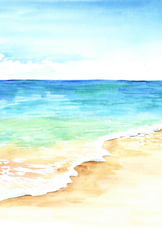 Θερινή τροπική παραλία με τη χρυσά άμμο και τα κύματα Συρμένη χέρι απεικόνιση watercolor στοκ φωτογραφίες