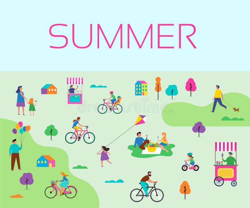Θερινή υπαίθρια σκηνή με τις ενεργές οικογενειακές διακοπές, απεικόνιση δραστηριοτήτων πάρκων με τα παιδιά, τα ζεύγη και τις οικο ελεύθερη απεικόνιση δικαιώματος