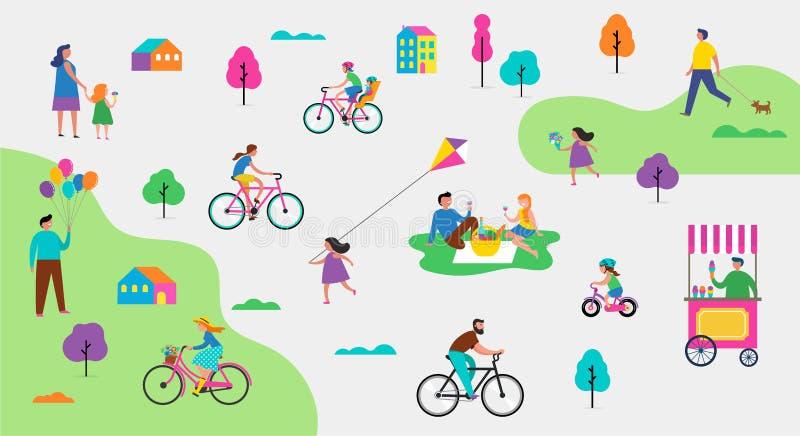 Θερινή υπαίθρια σκηνή με τις ενεργές οικογενειακές διακοπές, απεικόνιση δραστηριοτήτων πάρκων με τα παιδιά, τα ζεύγη και τις οικο απεικόνιση αποθεμάτων