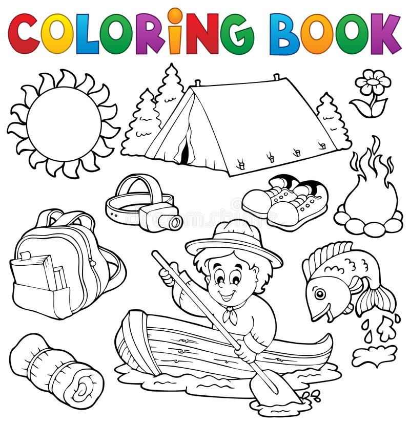 Θερινή υπαίθρια συλλογή βιβλίων χρωματισμού διανυσματική απεικόνιση