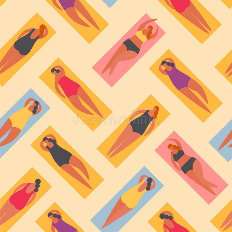 Θερινοί άνθρωποι στην παραλία Διανυσματικός illustrationBasic RGB διανυσματική απεικόνιση