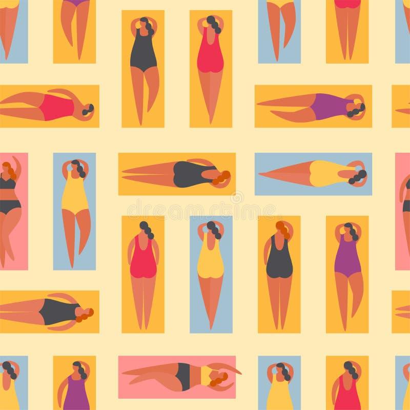 Θερινοί άνθρωποι στην παραλία επίσης corel σύρετε το διάνυσμα απεικόνισης διανυσματική απεικόνιση