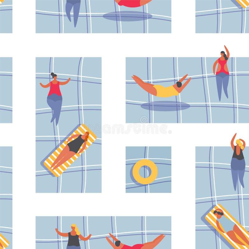 Θερινοί άνθρωποι στη λίμνη Κολυμπώντας γυναίκες στο μπικίνι Άνευ ραφής διανυσματική απεικόνιση σχεδίων απεικόνιση αποθεμάτων