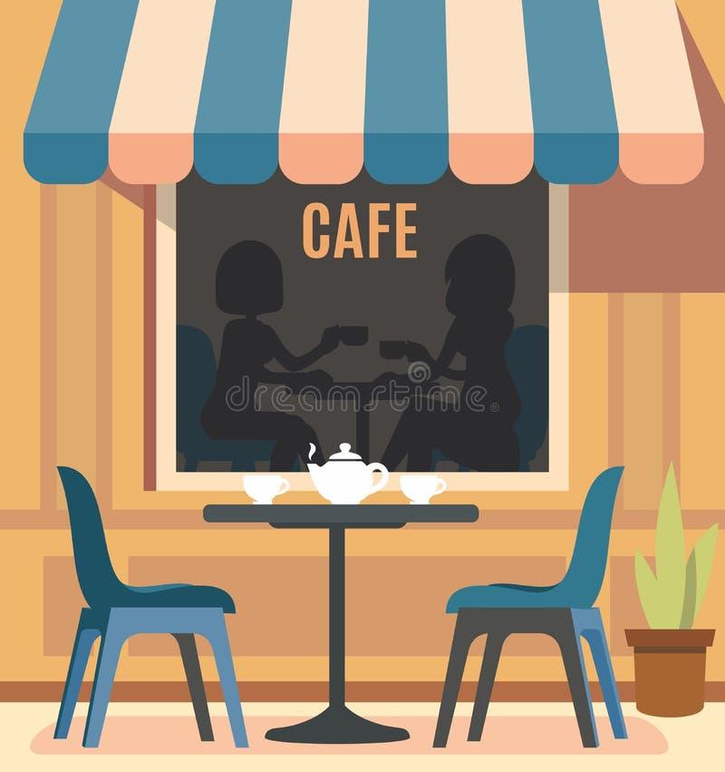 Θερινοί καφές και πίνακας με τις καρέκλες διανυσματική απεικόνιση