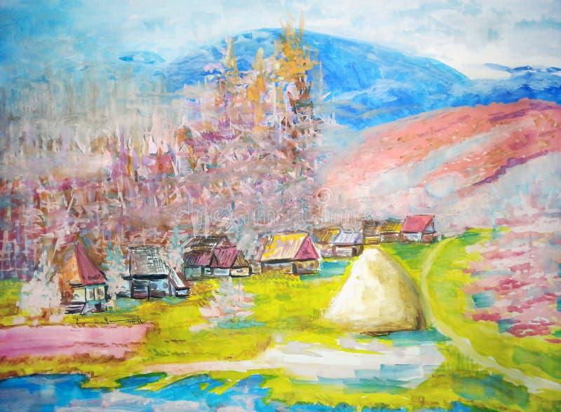Θερινοί τοπίο, δέντρα, ποταμός και χωριό απεικόνιση αποθεμάτων