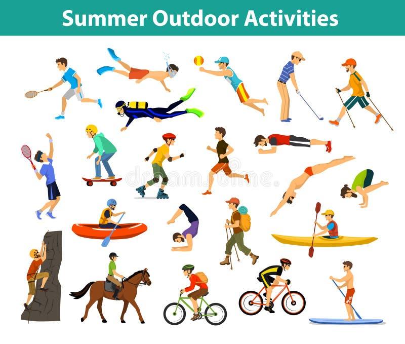 Θερινοί υπαίθριος αθλητισμός και δραστηριότητες ελεύθερη απεικόνιση δικαιώματος