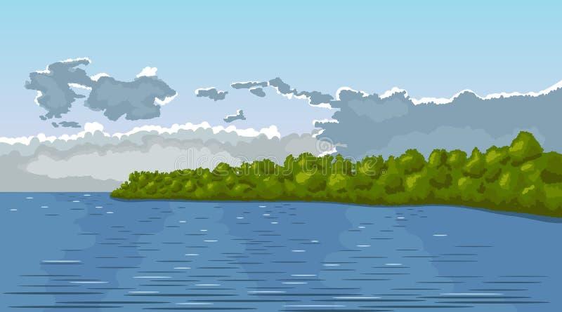 ΘΕΡΙΝΟ τοπίο Νεφελώδεις δάσος και ποταμός ουρανού διανυσματική απεικόνιση