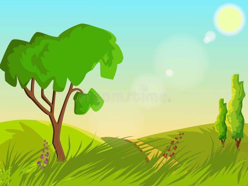 ΘΕΡΙΝΟ τοπίο Πράσινος χορτοτάπητας με τα λουλούδια και τα δέντρα σαφής καιρός απεικόνιση αποθεμάτων