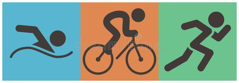 Θερινός αθλητισμός - αθλητικό εικονίδιο Triathlon διανυσματική απεικόνιση