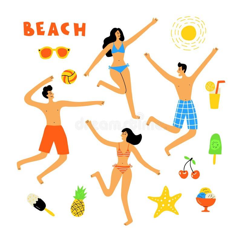 Θερινός τρόπος ζωής, άνθρωποι στην παραλία, χαριτωμένο σύνολο doodle Αστείοι γυναίκες και άνδρες κινούμενων σχεδίων Συρμένη χέρι  διανυσματική απεικόνιση