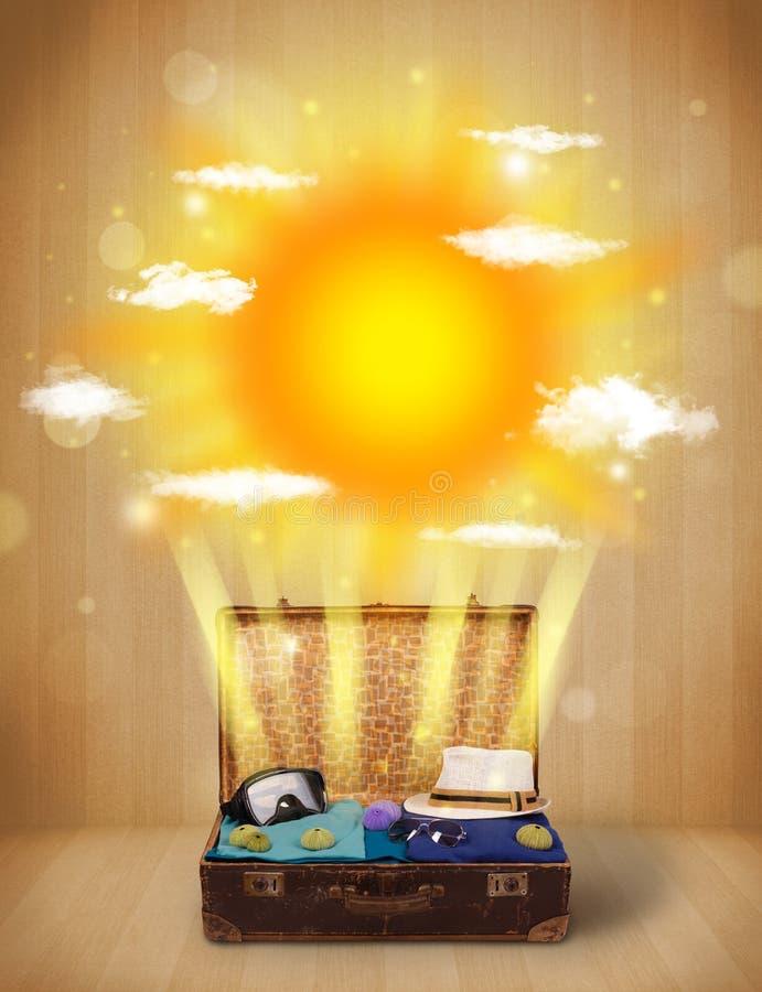 Θερινός φωτεινός ήλιος με τα σύννεφα και την τσάντα τουριστών διανυσματική απεικόνιση